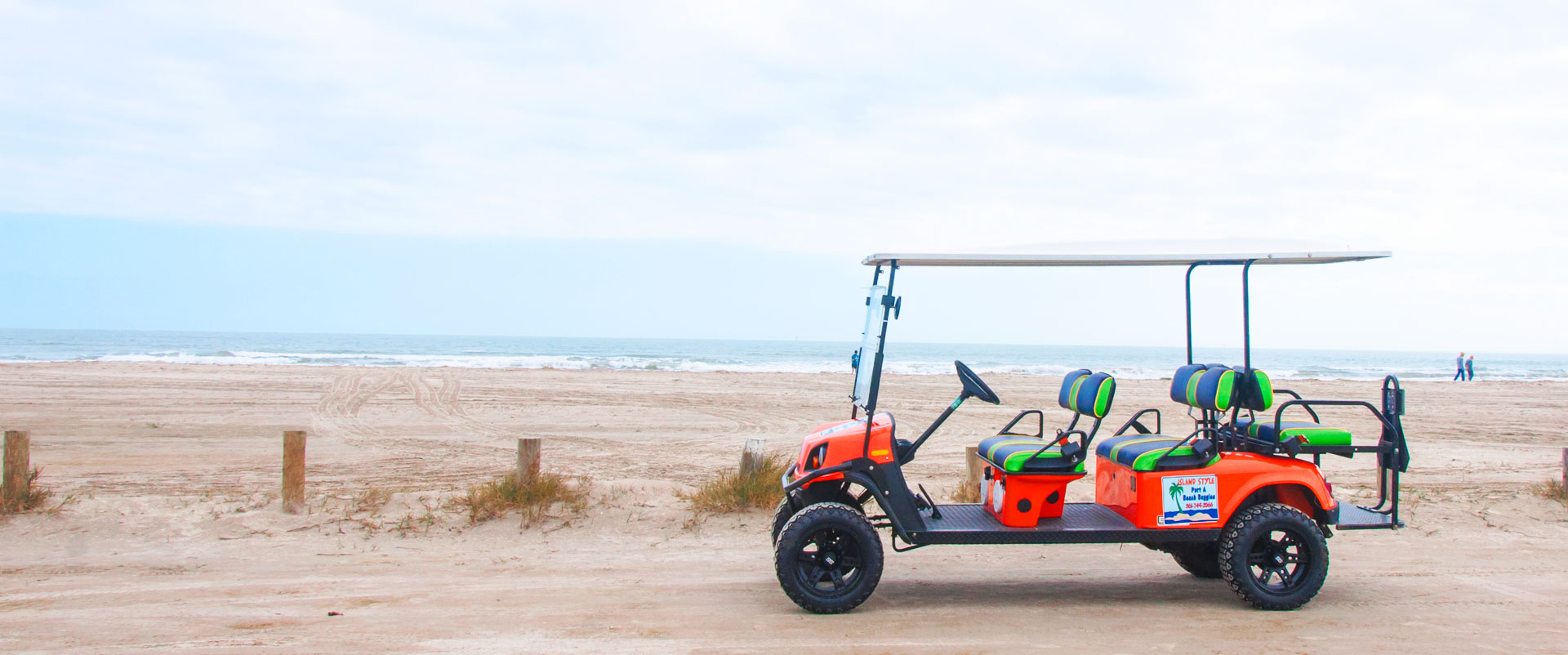 Golf cart from Port A Beach Buggies on beach in Port Aransas