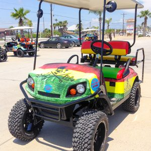 Salt Life Golf Cart with red, yellow and green stripes.
