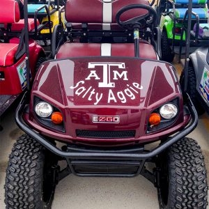 Maroon Salty Aggie golf cart