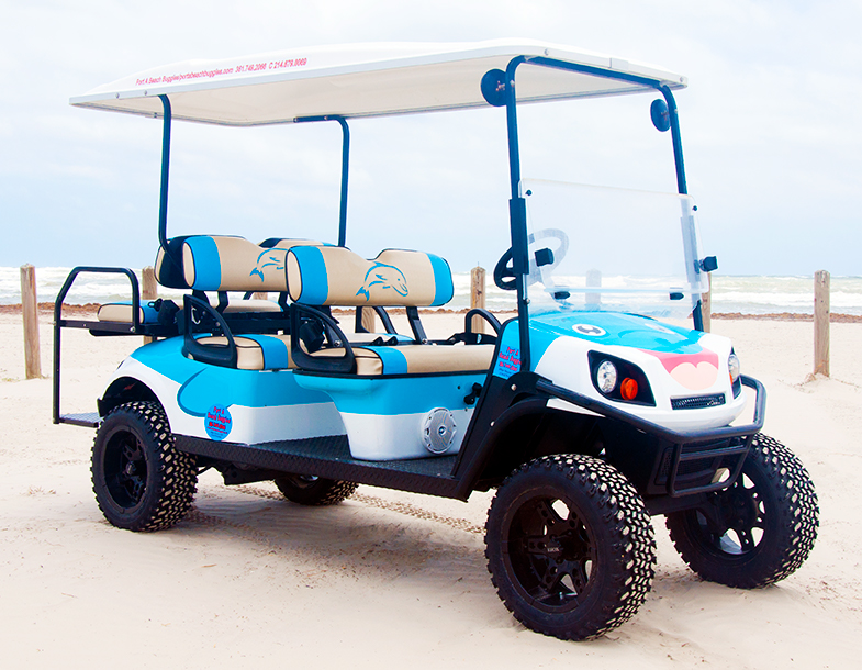 dolphin golf cart at the beach